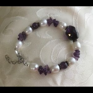 "Genuine Pearl and Amethyst Bracelet 9"" Adjustable"